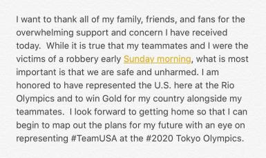 Lochte's initial statement on his Instagram account