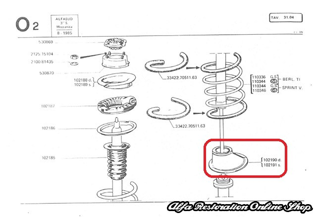 Alfasud/Sprint 1972-1984 Front Suspension Spring Plate