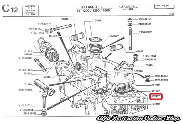 Alfa 33/Alfasud/Sprint 1.2, 1.3, 1.5 Single Carburetor
