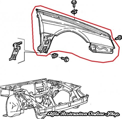 Alfa 164 TS/2.0 TB/3.0 V6 12V Front Right Wing, Alfa