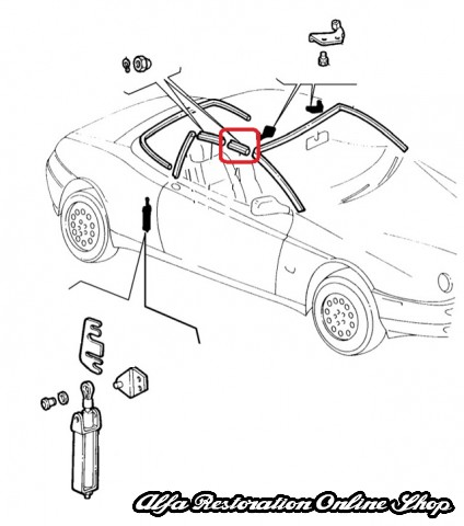 Alfa Spider 916 Series Soft Top Rubber Seal (Front Facing