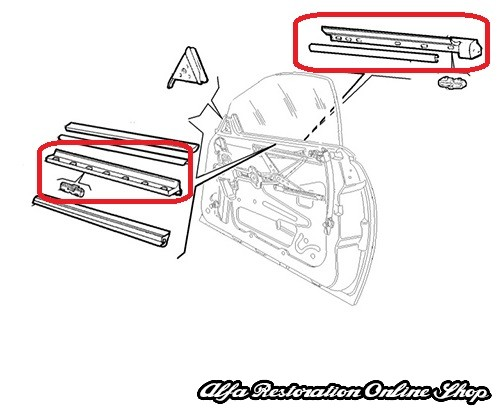 Alfa Spider (916 Series) Right/Left Door Window Horizontal