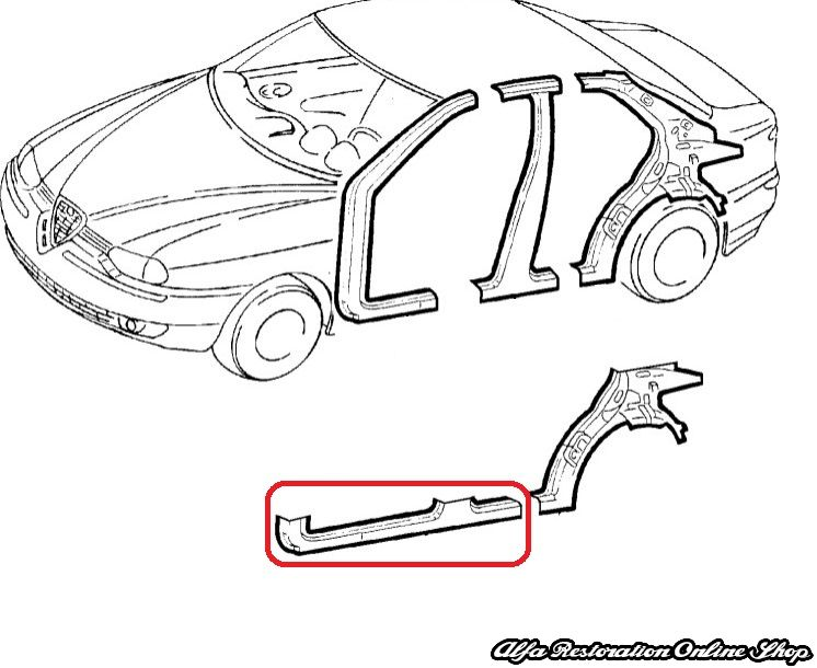 Alfa 156 (1997-2005) Right Side Outer Sill, Alfa
