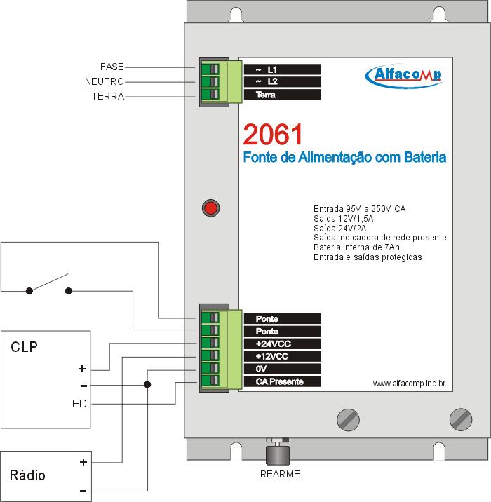 Fonte de alimentação com bateria – Funciona como nobreak cc