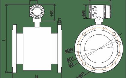 Dimensão do transmissor de vazão eletromagnético