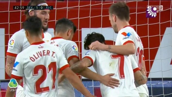 شاهد الهدف الاول ( 1-0 ) لصالح اشبيلية في شباك إلتشي