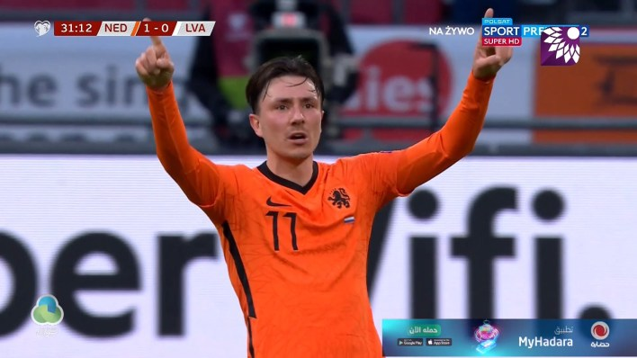 شاهد الهدف الاول ( 1-0 ) لصالح هولندا في شباك لاتفيا