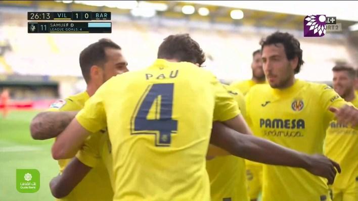 شاهد الهدف الاول (1 – 0) لصالح فياريال في شباك برشلونة