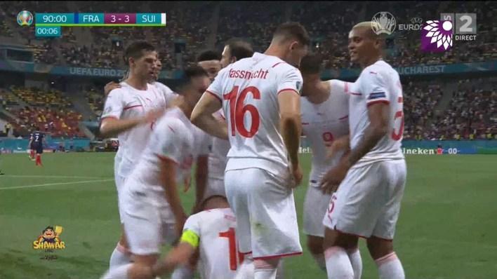 شاهد هدف التعادل (3 – 3) لصالح سويسرا في شباك فرنسا