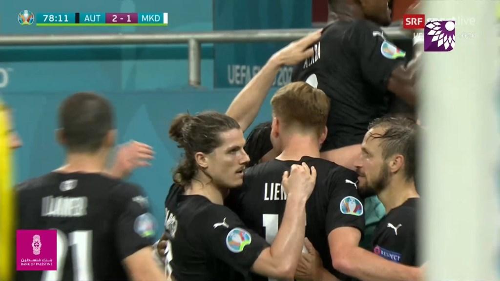 شاهد الهدف الثاني ( 2-1 ) لصالح النمسا في شباك مقدونيا الشمالية