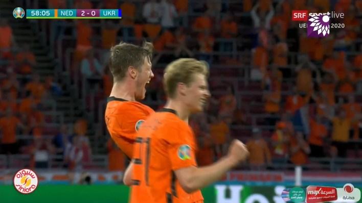 شاهد الهدف الثاني ( 2-0 ) لصالح هولندا في شباك اوكرانيا
