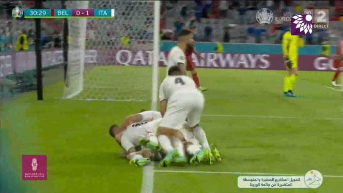 شاهد الهدف الاول (1-0) لصالح ايطاليا في شباك بلجيكا