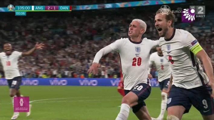 شاهد الهدف الثاني (2-1) لصالح انجلترا في شباك الدانمارك