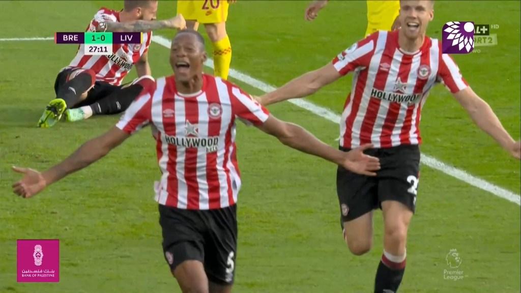 شاهد الهدف الاول (1-0) لصالح برينتفورد في شباك ليفربول