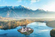 Εικόνα ενός τεχνολογικού πάρκου στη μέση μιας τεχνητής λίμνης