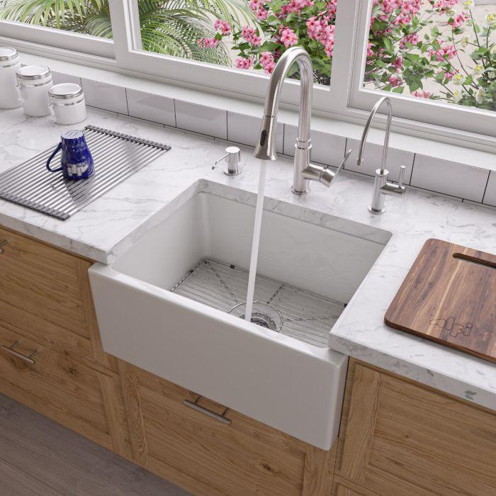 alfi brand ab2418sb 24 smooth thick wall fireclay single bowl farm sink