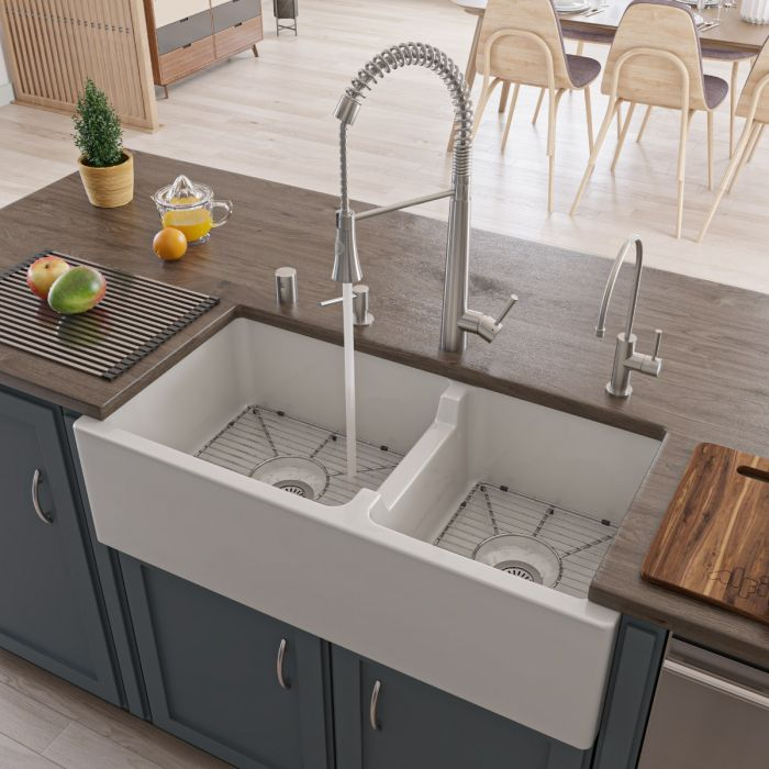 alfi brand ab3618db 36 smooth thick wall fireclay double bowl farm sink