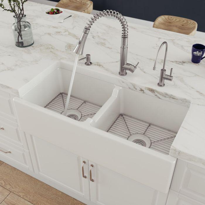 alfi brand ab3918db 39 smooth thick wall fireclay double bowl farm sink