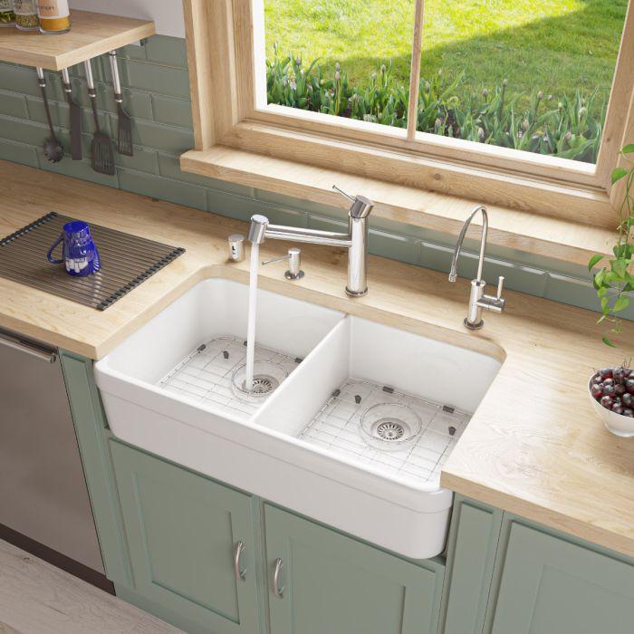 alfi brand ab512 double bowl fireclay 32 farmhouse apron kitchen sink