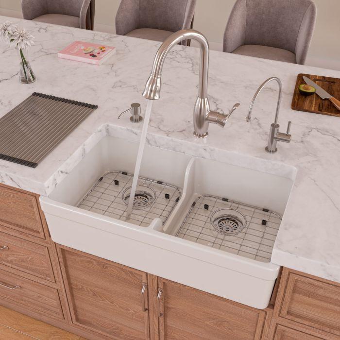 alfi brand ab5123 double bowl fireclay farmhouse apron front kitchen sink