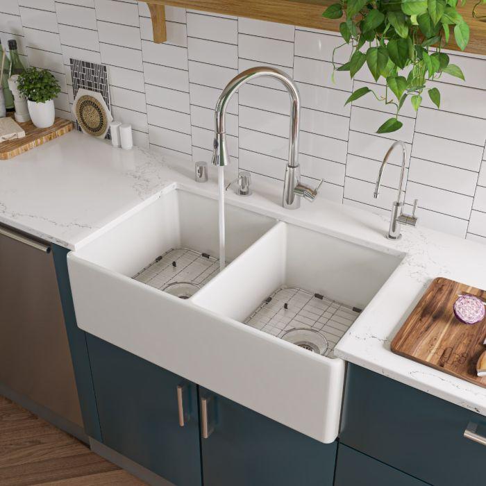 alfi brand ab538 double bowl smooth fireclay farmhouse apron kitchen sink