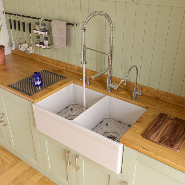 alfi brand ab539 32 3 4 lip double bowl fireclay farmhouse apron kitchen s