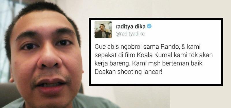 Raditya Dika Putus Kontrak Laurentius Rando di Film Koala Kumal Gara-Gara Kasus #SalahBeli