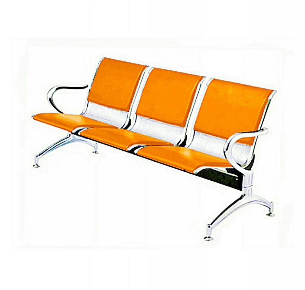 Orange Office Chairs 3 Seater Leather Padded Reception Airport Waiting Office Chair Orange And Grey