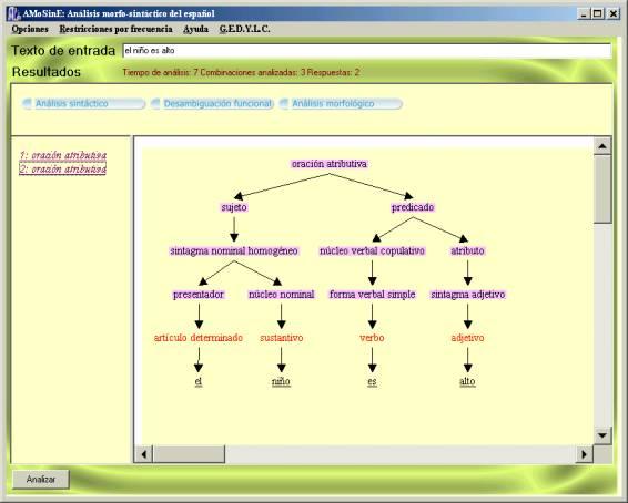 Herramienta análisis- Analizador Sintáctico y Morfológico de frases (1/2)