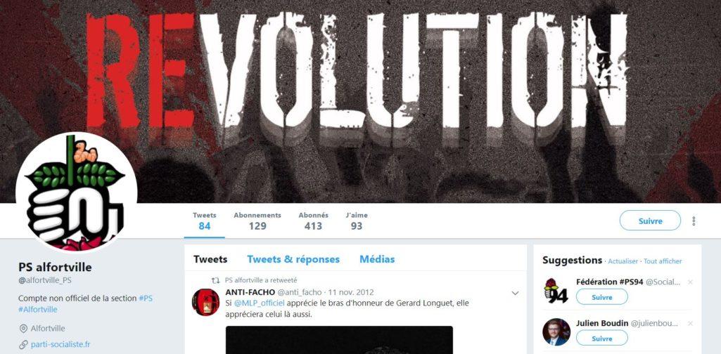 Capture écran du compte Twitter piraté de la section du Parti Socialiste Alfortville