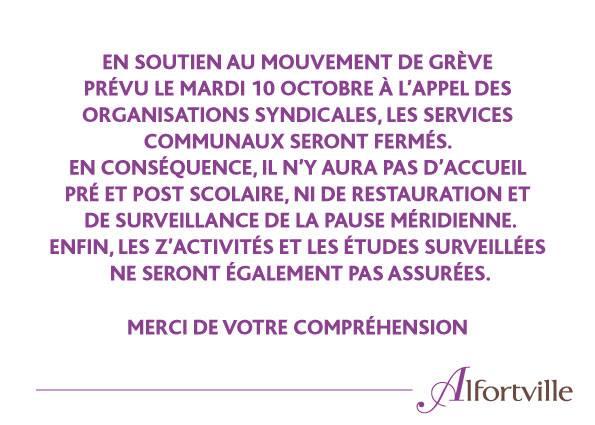 Alfortville grève dans les écoles accueil des enfants mardi 10 octobre