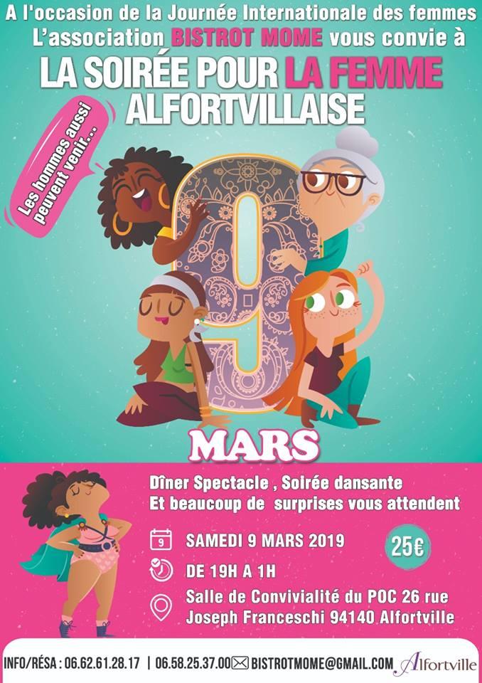 Dîner spectacle pour la Journée Internationale des Droits de la Femme à AlfortvIlle