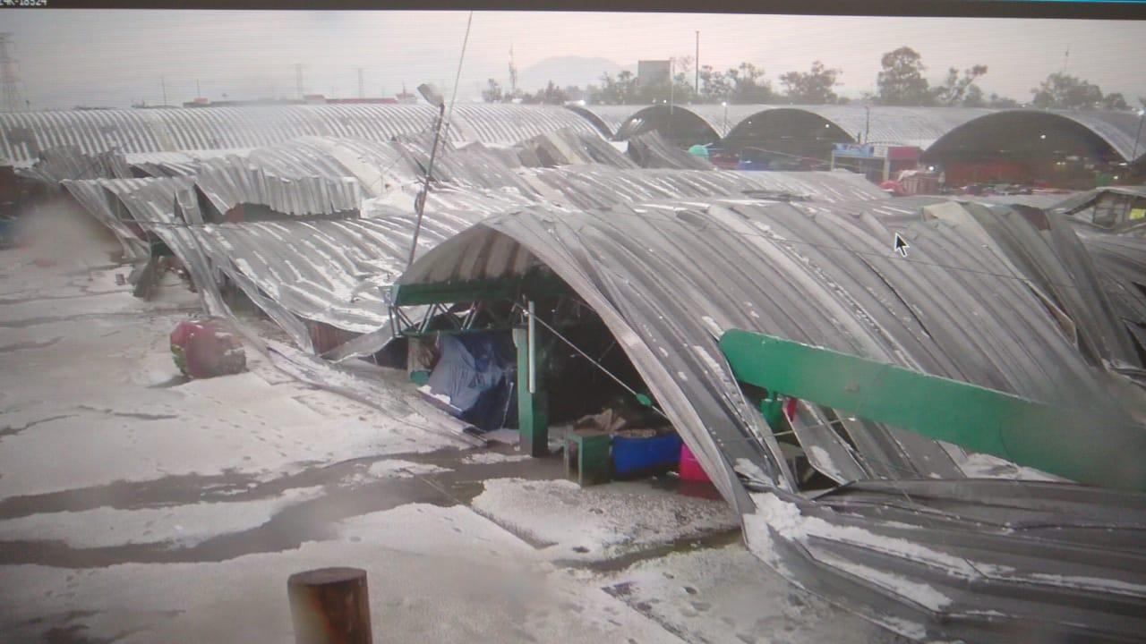 Fuerte granizo derrumba techo de tres naves en la Central de Abastos