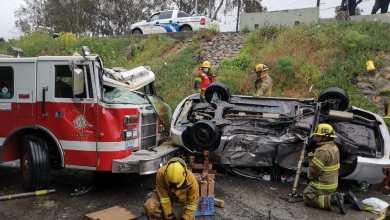 Photo of FOTOS: Aparatoso accidente con cinco vehículos y una bombera