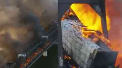 Photo of VIDEO: Tren se descarrila y provoca fuerte incendio