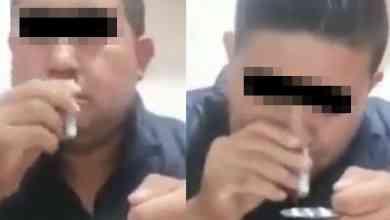 VIDEO-Exhiben-a-mando-policiaco-inhalando-polvo-blanco