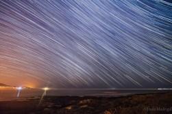 star trails at sea
