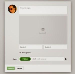 ventana completa donde subir fotos en Google Plus encuestas