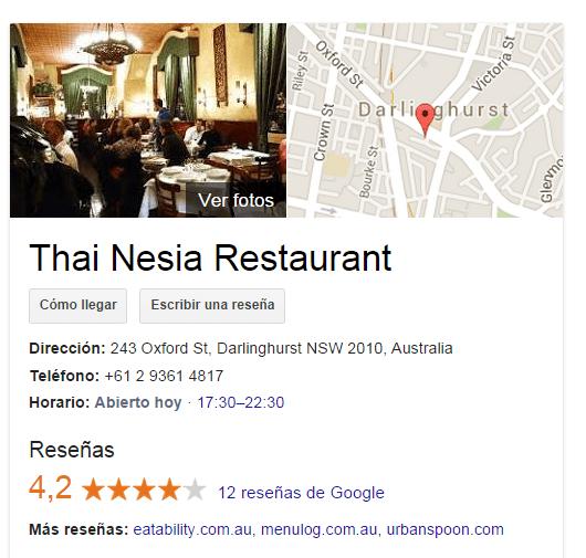 Restaurante en Google Local my business