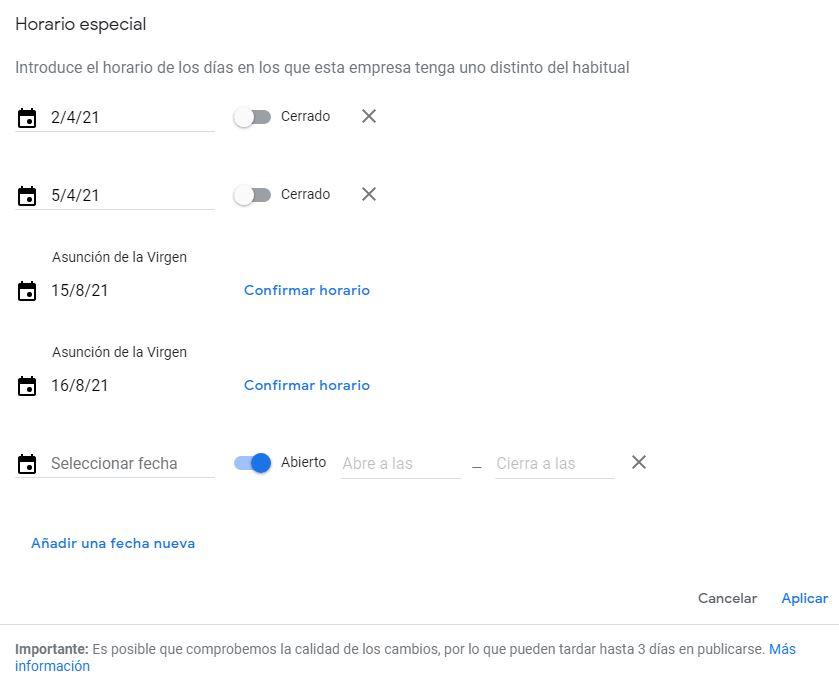 horario especial google my business