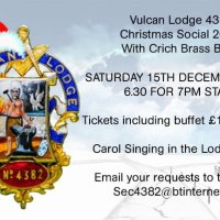 Vulcan Lodge to hold Christmas Carols evening with Crich Brass Band