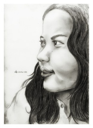 """ A face at midnight"" by Alf Sukatmo. Pencil on paper."