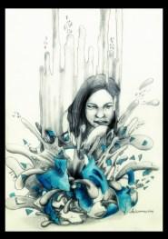 """A Broken Blue"" by Alf Sukatmo. Color pencil, Graphite on paper."