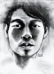 """20 Faces - 15"" Charcoal on paper ©Alf Sukatmo 2016"