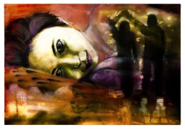 """Silent Symphony II"" Charcoal, chalk and gouache on paper ©Alf Sukatmo. 2016."