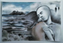 """""""The Sad Ocean"""" Charcoal and soft pastel on paper ©Alf Sukatmo. 2016"""