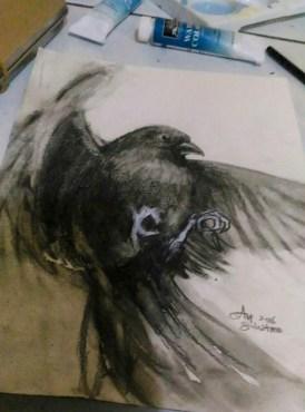 """Study: Black bird"" Charcoal on paper ©Alf Sukatmo.2016"