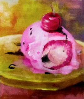"""Erotica (of a fruity ice cream pancake)"" Acrylic on paperboard 78 cm x 65 cm ©Alf Sukatmo"