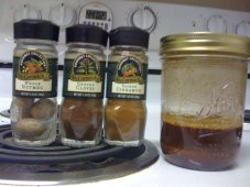 spice mix: these get steeped in vodka while the beer ferments, then the infused vodka gets dumped into the keg with the beer