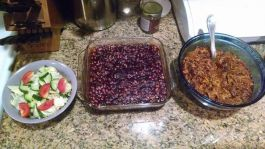 Pork and beans. :) Both were done in the pressure cooker, so the kitchen isn't sweltering and I didn't burn up outside. The tomato on the salad is from the Heinz plant out back...first one of those to ripen.